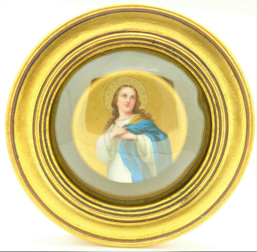 Antique Porcelain Plaque Religious Virgin Mary Excellent Quality Painting