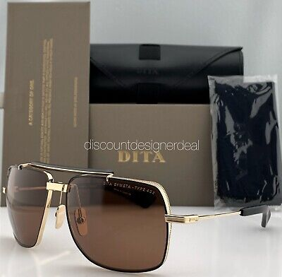 DITA SYMETA TYPE 403 Aviator Sunglasses Gold Black Brown Lens DTS126-62-02 (Sunglasses Lens Types)