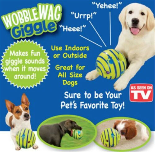 uk seller wobble wag giggle ball dog play training pet toys with funny sound hot
