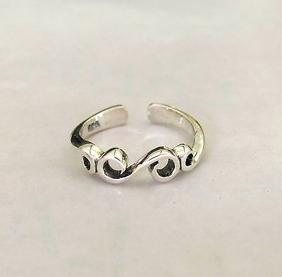Sterling Silver Scroll adjustable toe ring