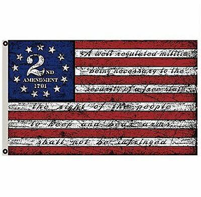 2nd Amendment Flag American 13 Star NRA Banner Gun Rights Patriot Ross Vintage Décor