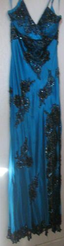 """CACHE""""  Evening  Gown /Dress-COBALT BLUE SATIN BLACK LACE SEQUINS BEADS -SIZE 2"""