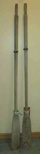 """Vintage Wood Wooden Boat Oars Paddles w/ Hardware Weathered 72"""" Long"""