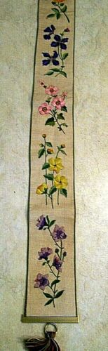 VINTAGE CREWEL EMBRIODERY BELL PULL FLORAL FINISHED + BRASS