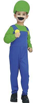 Kostüm Junge Klempner Grün Blau Kind 7/8/9 Jahren Spiele Mario Luigi - Luigi Kostüm Junge