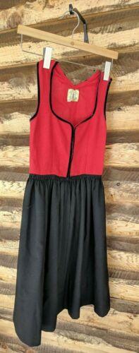 Trachten Tostmann Kids 11 Bavarian Dress / Norwegian Bunad Black Red FLAWS AS-IS
