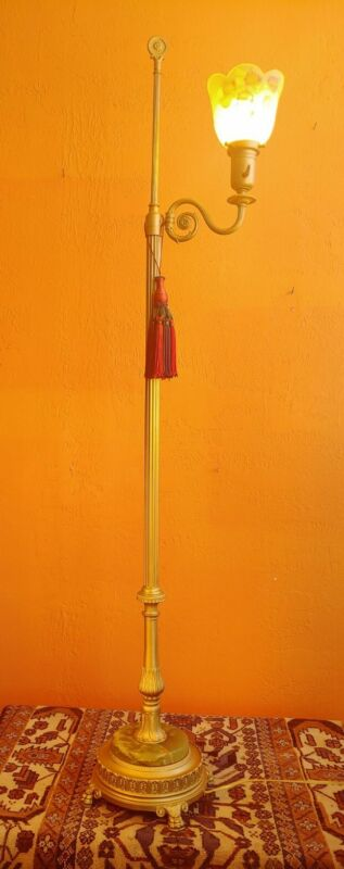 Fabulous Antique Golden Floor Lamp with reverse painted Shade