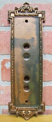 Antique Decorative Arts 4 Hole Panel Plate Elevator Light Bronze Copper Hardware