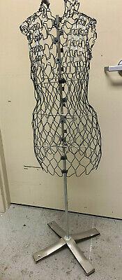 Vintage Adjustable Wire Womans Dress Form Mannequin Dressmaker Form Used