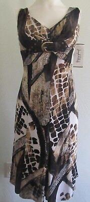 JOSEPH RIBKOFF Empire Dress 6 US  Black Brown Beige Animal Sleeveless Buckle NWT - Flapper Dress Canada
