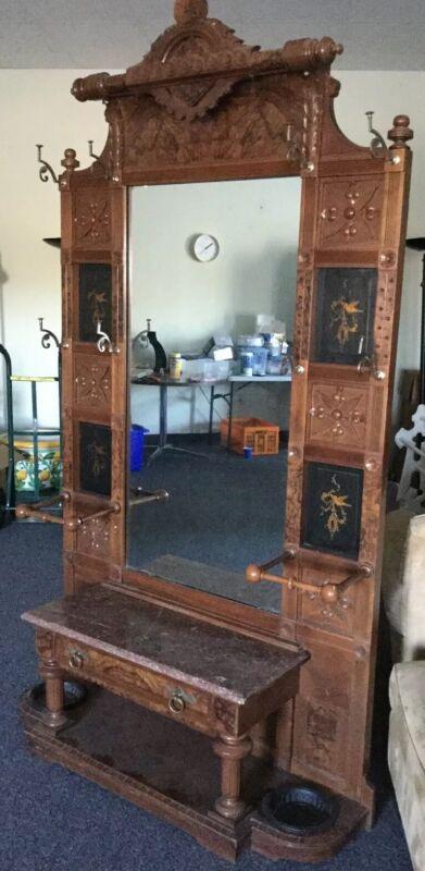 Finest Antique Aesthetic Movement Ebonized Walnut Hall Tree Bench Drawer