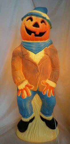 "vintage  Lighted Scarecrow Pumpkin Head Halloween Blow Mold- 34"""