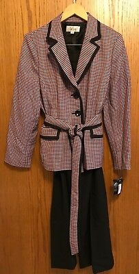 Le Suit Women's Pink Multi Houndstooth Pant Suit 16 Jacket/18 Pant NWD