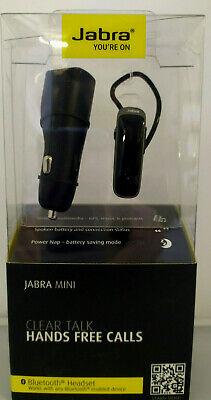 Jabra Mini Clear Talk Bluetooth Hands-Free Headset & Dual Port Car Charger Black