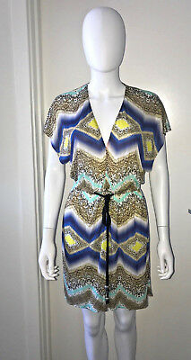 (NWOT MILLY CABANA CHEVRON ANIMAL PRINT ROPE TIE COVERUP BEACH TUNIC DRESS XS)