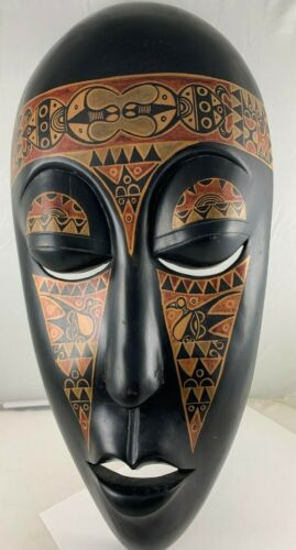 """Hand crafted & painted wood African Tribal Mask 18.5"""" Wall Hanging, Antique"""