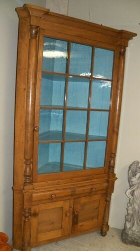 Antique Primitive Corner Cupboard Cabinet 12 Divided Glass Door Pine & Poplar