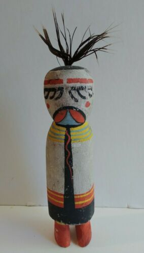 VINTAGE ROUTE 66 CARVED & PAINTED WOOD HOPI KACHINA FIGURE WITH FEATHER HAIR