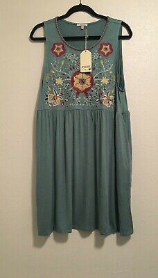 Jodifl Size Large 10-12 Sage Green Embroidered Sleeveless Baby Doll Dress NWT Child Embroidered Dress