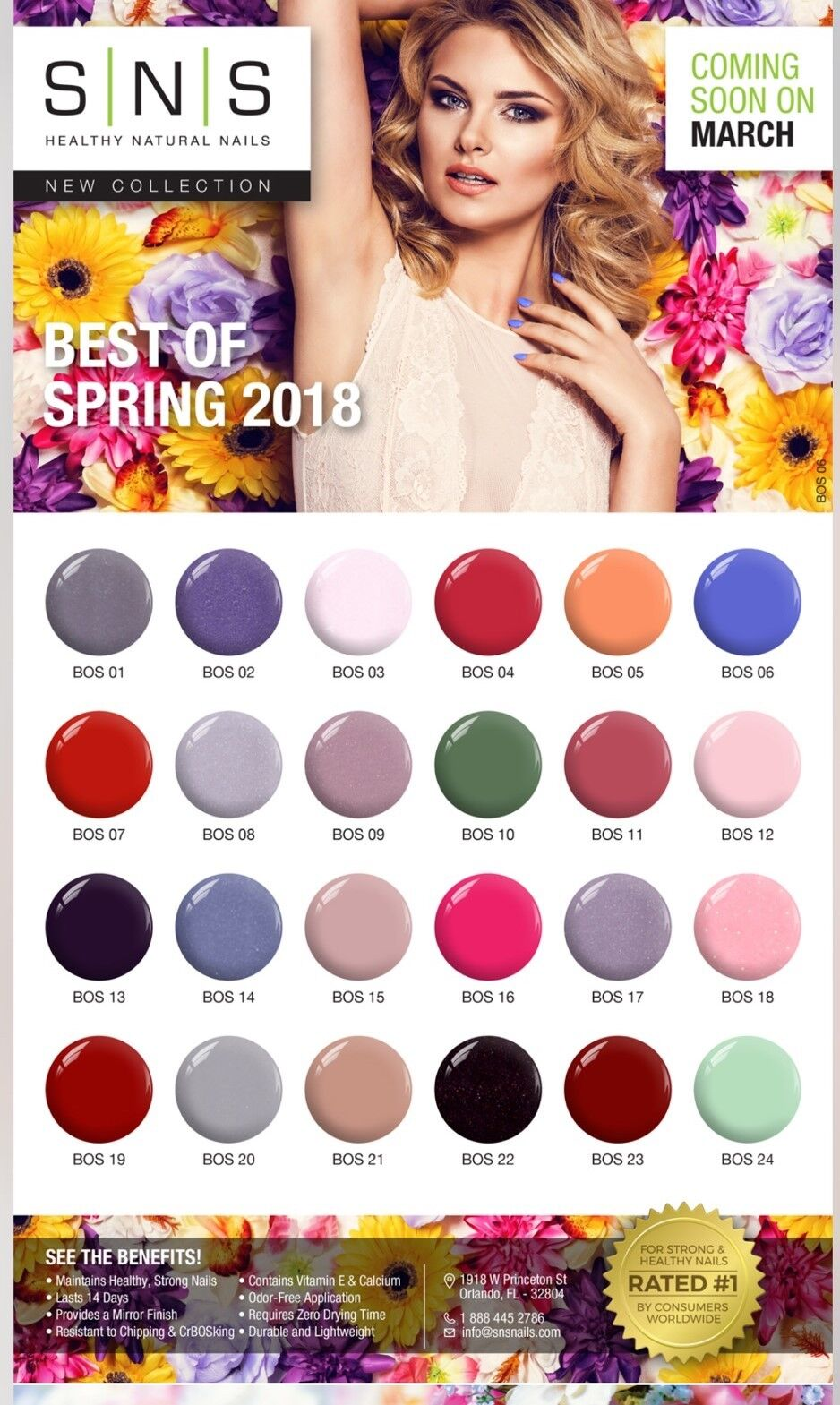 SNS Nail Color Dipping Powder NEW  Spring Collection BOS & N