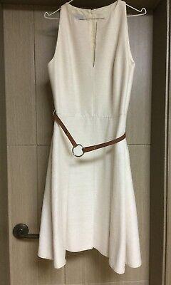 Akris Punto White Sleeveless Belt Dress Size US 6