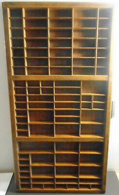 VINTAGE THOMPSON CABINET CO. WOOD LETTER PRESS TYPE SET DRAWER 16.75 X 32