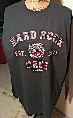 Authentic Hard Rock Cafe Chicago Men Black T Shirt Large Long Sleeve 100% Cotton