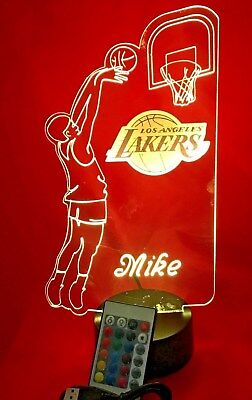 Los Angeles Lakers NBA Basketball Player Light Up Lamp LED, Remote, Personalized