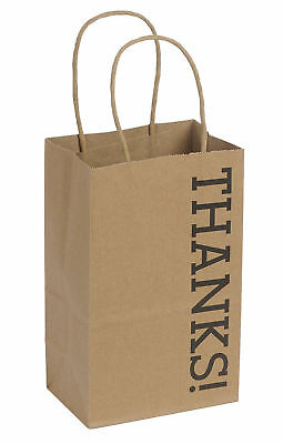 100 Small Kraft Thanks Paper Shopping Bags 5 X 3 X 8 Gusset Retail