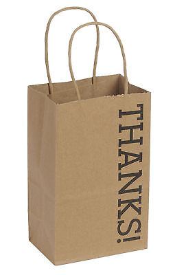 100 Small Kraft Thanks Paper Shopping Bags 5 X 3 X 8 Gusset Retail