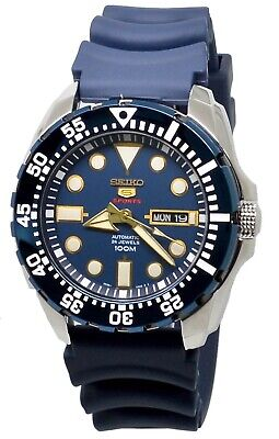 Seiko 5 Sports Automatic SRP605K2 Blue Dial Blue Rubber Band Men's Watch