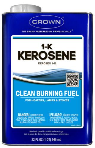 1 Quart can 1-K KEROSENE FUEL Clean burning for lantern lamp heater stove CROWN