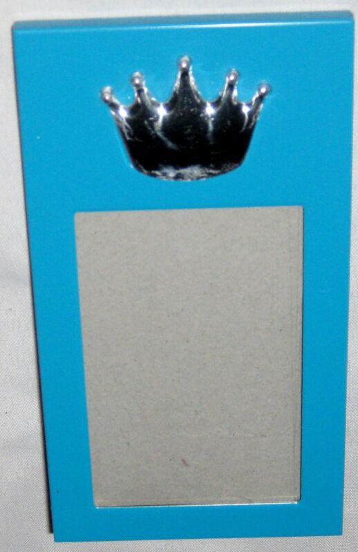 """Blue 4 3/4"""" Crown Picture Frame - Holds 1 3/4"""" X 2 3/4"""" Photo"""