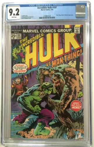INCREDIBLE HULK #197 CGC 9.2 CLASSIC WRIGHTSON COVER VS MAN-THING MAVEL 1976