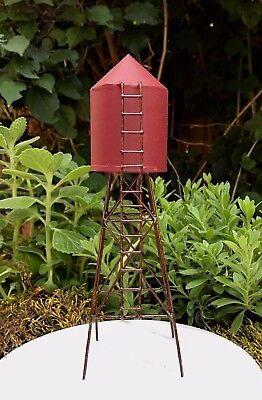 Miniature Dollhouse Fairy Garden   Mini Farm Red Metal Water Tower   New