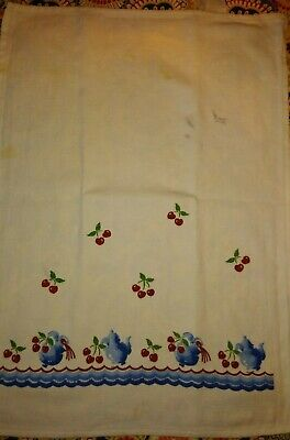 "Retro, Vintage, Flour Sack, 50s, ""CHERRIES"" KITCHEN TOWEL, Mid Century Motif"