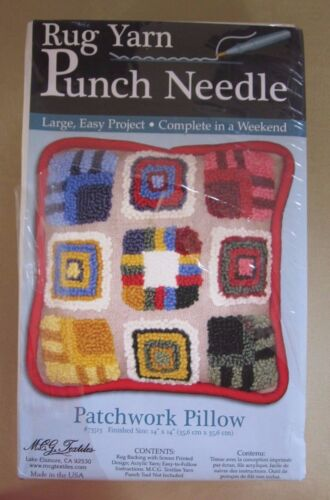 Rug Yarn Punch Needle Kit Patchwork Pillow 14 x 14 Weekend Project MCG Textiles