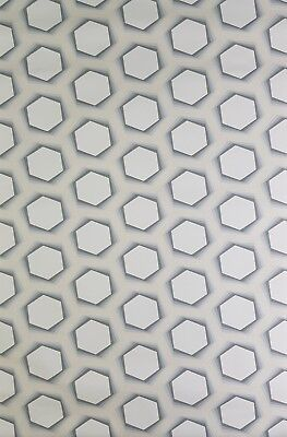 Wallpaper Cream Background with Silver & Grey Honeycomb Design retro Style 52025
