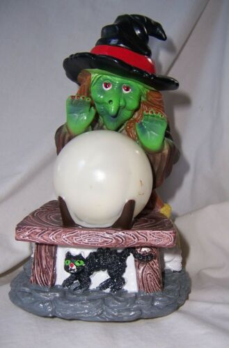 """Vintage Halloween Cackling WITCH CRYSTAL BALL lights & sound TAIWAN 9"""" Dept 56?"""