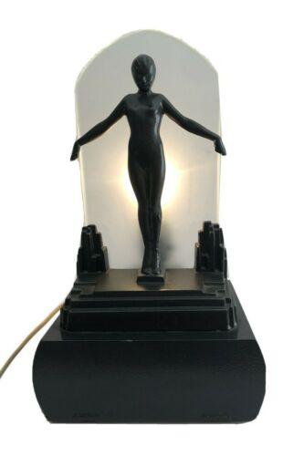 Vtg Art Deco original Frankart Nude Nymph Lady Black Figural Spelter Lamp