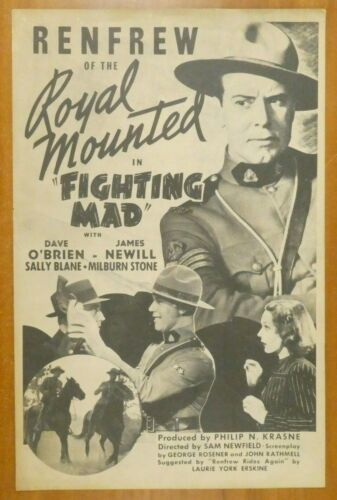 Fighting Mad Renfrew of The Royal Mounted 1939 Vintage Movie Press Book