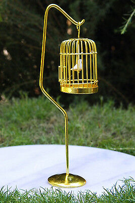 Miniature Dollhouse FAIRY GARDEN Furniture ~ Brass Bird Cage with Stand & Bird