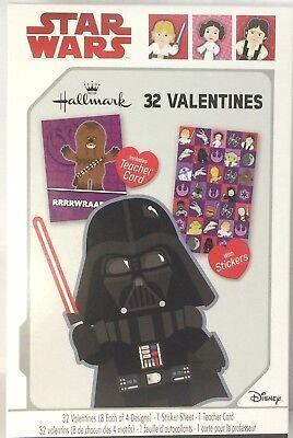32 Star Wars Valentines, Stickers & Teacher Cards Hallmark Darth Vader Chewbacca