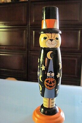 Halloween Cat Wooden Candlestick Table Decor New