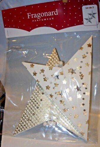 "NEW FRAGONARD PERFUME CHRISTMAS TREE ORNAMENT WHITE GOLD HOLIDAY DECOR STARS 8"""