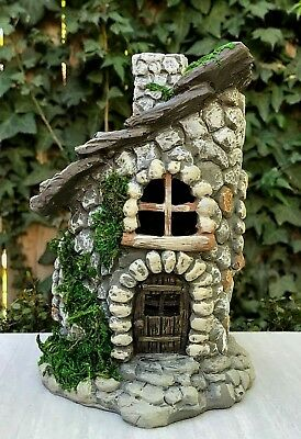 Moss Cottage - Miniature Dollhouse FAIRY GARDEN Figurine ~ Stone Look Cottage House with Moss