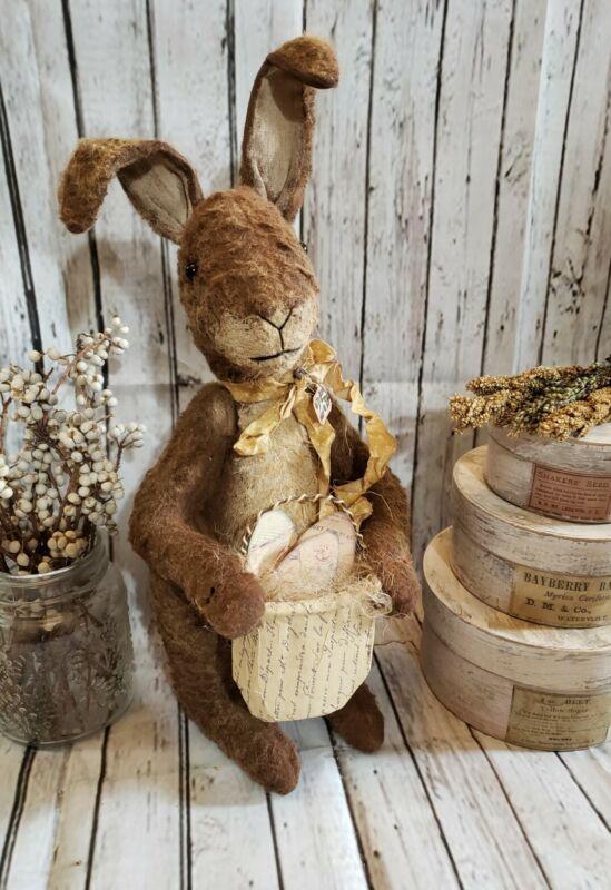 "Handmade Primitive Standing Bunny 14"" tall Easter Decor Farmhouse Decor"