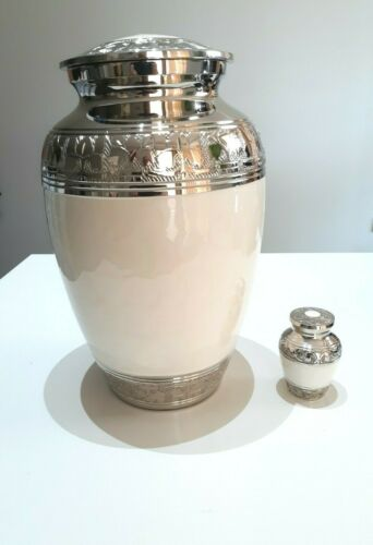 CREMATION URN ADULT and KEEPSAKE URN - WHITE IVORY COLOUR AND NICKEL URN
