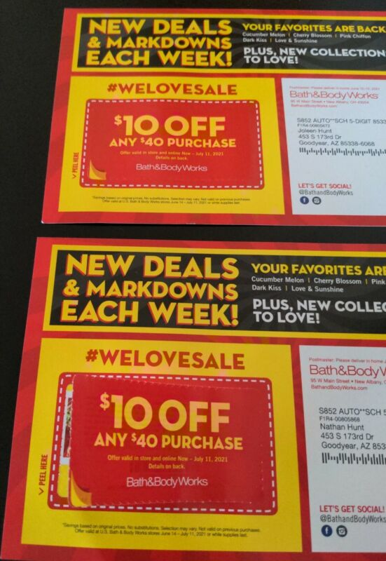 Bath & Body Works Coupons Lot Of 2 $10 off $40 BBW exp 7/11/21 E-delivery avail