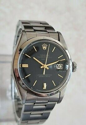 Vintage Rolex Oyster Perpetual Date 34mm Charcoal Black Sigma Dial Watch 1968